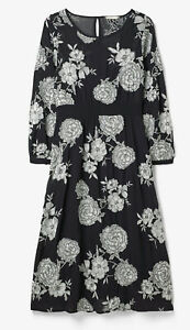 Worn Once White Stuff Navy Embroidered Layered Midi Dress White Flowers Size 14