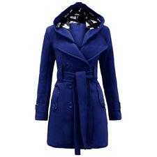 Women Warm Hooded Trench Winter Wool Coat Blends Long Belt Jacket Outwear ILC