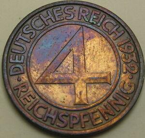 GERMANY (Weimar) 4 Reichspfennig 1932J - Bronze - XF - 433 ¤