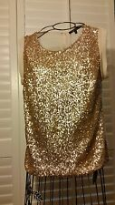 Sweet Rain Gold Sequined Front with Cream Sheer Back Blouse