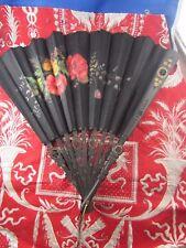 bel ancien eventail fan abanico ventaglio epoque napoleon 3 tissus peint fleurs