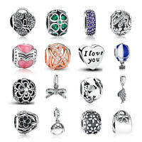 New European Silver Pave CZ Charm Bead Fit sterling 925 Necklace Bracelets Chain