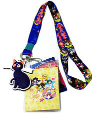 Sailor Moon Chibi Sailor Guardians Lanyard Badge ID Holder & PVC Luna Charm New