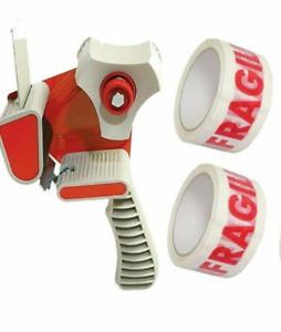 New Strong Hand Tape Gun Dispenser + 2 Free Rolls of Fragile Tape 48MM X 66M