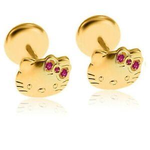 Sapphire Hello KITTY Cat Stud Earrings Girls Teens Baby in Sterling Silver