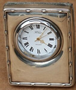 VERY SMALL FULLY HALLMARKED SILVER FRONTED WORKING DESK CLOCK