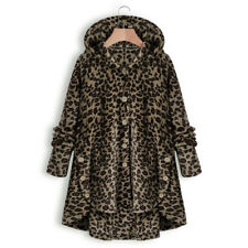Womens Button Teddy Bear Fleece Fur Fluffy Hooded Coat Jacket Outwear Plus Size