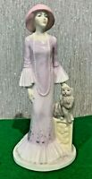 COALPORT CHINA LADY MISS 1929 WITH CAT LADIES OF FASHION LILAC DRESS PERFECT