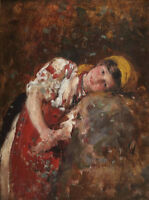 """perfect 24x36 oil painting handpainted on canvas """"a girl""""@N13816"""
