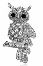 Stunning Diamonte Silver Plated Vintage Look Tiny Owl Christmas Brooch PIN C16