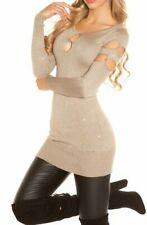 Sexy Miss Damen Pullover Long Pulli Strick Kleid Perlen glitz Lurex XS/S out cut