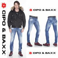 CIPO & BAXX Herren Jeans CD319B NEU Hose Slim Fit Enges Bein Denim Stretch