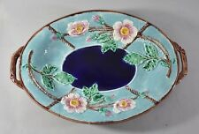 Antique Majolica Wild Rose And Rope Oval Platter Cobalt / Turquoise Circa 1800's