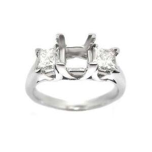 1.00 PRINCESS CUT 3 STONE DIAMOND RING SETTING MOUNTING