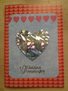 Handmade Anniversary card - Silver heart