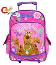 """Scooby Doo Roller Backpack 16"""" School Luggage Rolling Wheeled Bag Trolley Pink"""