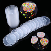 10pcs Round Food Containers Plastic Clear Storage Deli Pots w/ Lids Takeaway Box