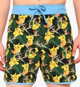 Pokemon Pikachu & Birds of Paradise Mens Swim Trunks Shorts New with Tags