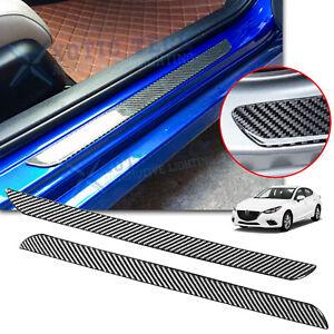 Protector Door Plate Carbon Fiber Scuff Sill Panel Anti Scratch Cover For Mazda