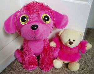 Neon Pink Soft Toys -  Bananas Big Eyed Dog & Paws Teddy Bear in Pink Jumper