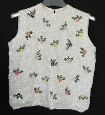 Vtg H.B.Burnett Sweater Unique Sleeveless Wool Heavily Sequin Box Style Size M