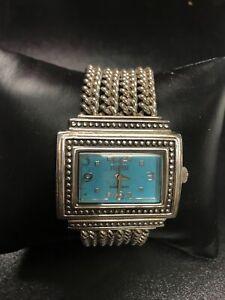 Ecclissi Sterling Silver Turquoise Color Bracelet Watch 33611 New Batt