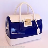 FURLA Rubber Jelly CANDY BAG VANILLA White LEATHER Blue Satchel Bag Handbag NWT