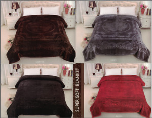 2 PLY Heavy Embossed Blanket Bed Throw Thick Soft & Warm Thermal Double Sided