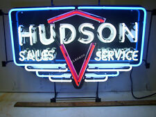 New HUDSON MOTOR SALES & SERVICE STATION REAL GLASS NEON SIGN Beer Bar LIGHT