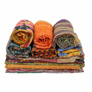 Indian Kantha Quilt Handmade Twin Cotton 2 Pcs Lot Vintage Bedding Floral Throw