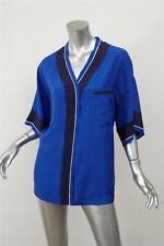 5e742e2e3106b LANVIN Womens Blue Silk Oversized Short-Sleeve Button-Down Blouse Top 36 4