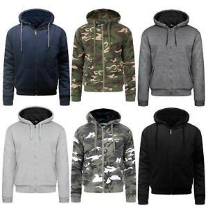 Mens Thick Warm Fleece Fur Lined Hoodie Zip Up Winter Coat Jacket Sweatshirt Top