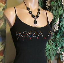 PATRIZIA PEPE FIRENZE (sz.1/S/XS)Beaded Stretch Tank Top Black Color.Thin Straps