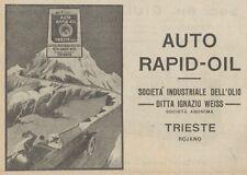 Z1527 Auto RAPID-OIL - Trieste - Pubblicità d'epoca - 1925 Old advertising