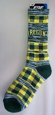 Oregon Ducks Men's Socks Large Size 10 to 13 Double Plaid