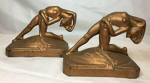 Pair Antique Art Deco Nude Woman Bookends Frankart Era 1930s
