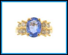 & Diamond Fashion Ring 14K Solid Yellow Gold Tanzanite