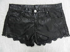 BLANKNYC black faux leather vegan PVC scalloped shorts size 27 EUC