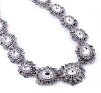 SILVER CAMELLIA FLOWER Diamante Crystal Rhinestone Choker Collar Floral Necklace