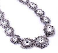 SILVER CAMELLIA FLOWER Diamante Crystal Rhinestone Choker Collar Floral Necklace