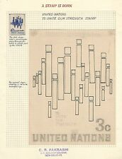 UN United Nations Unite Our Strength essay pencil sketch & small painted artwork