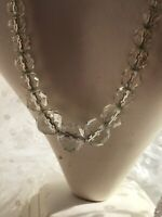 1930s Glass Necklace Faceted Graded Clear Vintage Jewelry Jewellery Retro Old