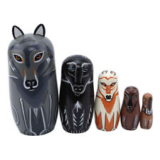 Wolf Russian Nesting Dolls Matryoskha Wooden Ornament Hand Painted Gift one