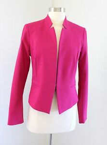 White House Black Market Solid Pink Stand Collar Blazer Suit Jacket Size 4