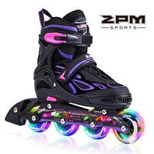Light Up Led Wheels Girl Kids Premium RollerSkates - Medium (Violet & Magenta)