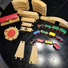 Vintage Lot Wooden BRIO Train Track Car Train Station Building Carousel People