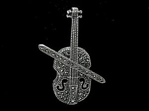 Vtg 925 Sterling Silver Sparkling Natural Stone Marcasite Cello Brooch Excellent