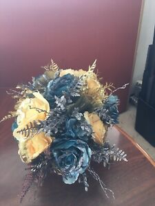 Center Piece Of Silk Blue And Yellow Flowers. Handmade With Gold Holder