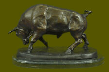 MAJESTIC BRONZE STATUE COW BULL CLASSIC BRONZE SCULPTURE, SIGNED: HOME DECOR