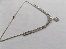 """Beautiful Silver Necklace / Choker with Clear Paste Stones 14.5"""" long"""